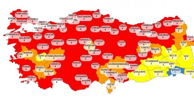 İllerin risk durumunu gösteren haritada; Kocaeli KIRMIZI