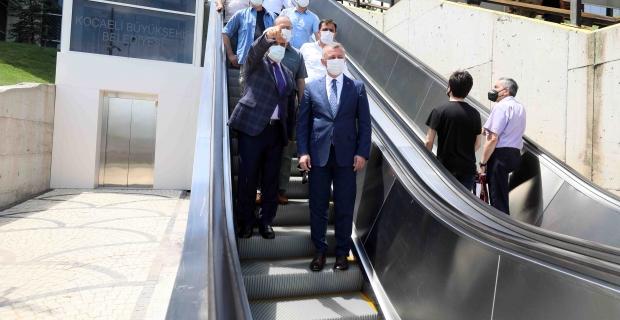 KOÜ Hastanesi Ek Poliklinik Binası'nda yürüyen merdiven yapımı tamamlandı