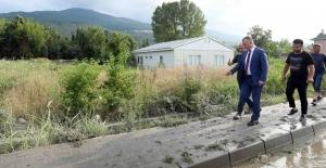Başkan Büyükakın,  su baskının sonrasında Maşukiye'deydi